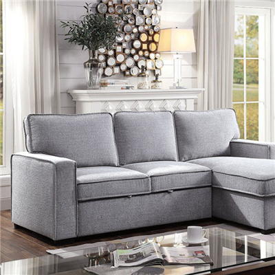 Light Grey Upholstered Sleeper Sectional