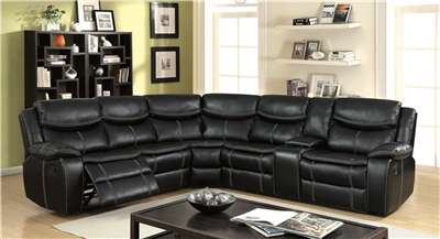 The Gatria Black Leatherette Reclining sectional