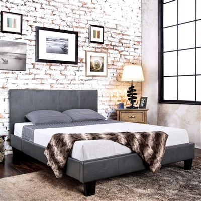 Transitional Grey Leatherette Queen Platform Bed