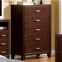 Enrico Brown Cherry Finish 5 Drawer Chest