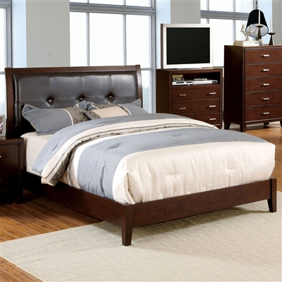 Enrico Brown Cherry Finish Platform Bed