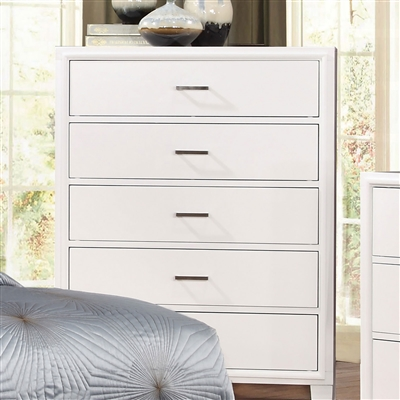 Enrico Modern White 5 Drawer Chest