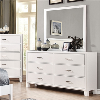 Enrico Modern White 6 Drawer Dresser