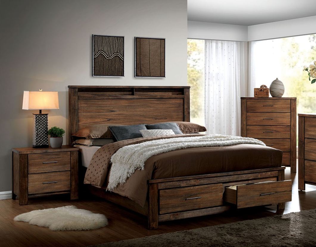 5 Piece Rustic Cabin Finish Queen Bedroom Set