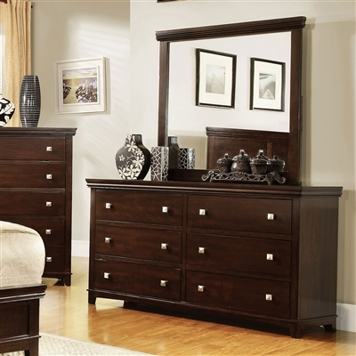 Contemporary Brown Cherry Finish 6-Drawer Dresser