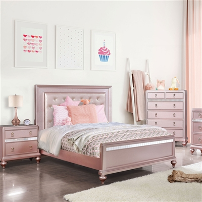 Rose Gold Finish Twin Bed with Tufted Headboard & Mirror Accents