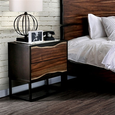Fulton Collection Split Wood Rustic Style Nightstand