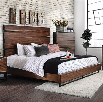 Fulton Collection Reclaimed Wood Look Plank Bed