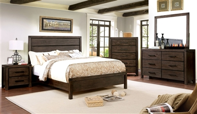 Wire-brushed rustic brown finish panel bed with open wood grain