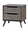 Gray Finish Mid-Century Modern 2 Drawer Nightstand