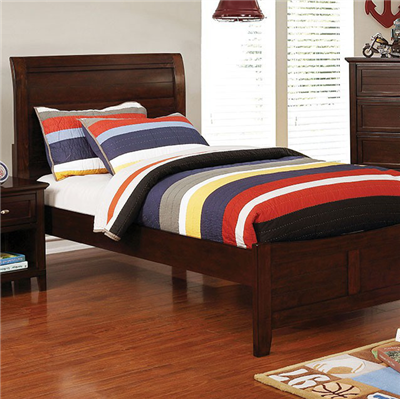 Brogan Transitional Youth Twin Panel Bed in Cherry