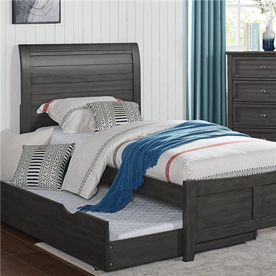 Brogan Transitional Youth Panel Bed in Grey
