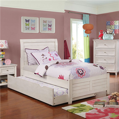 Brogan Transitional Youth Twin Panel Bed in Antique White