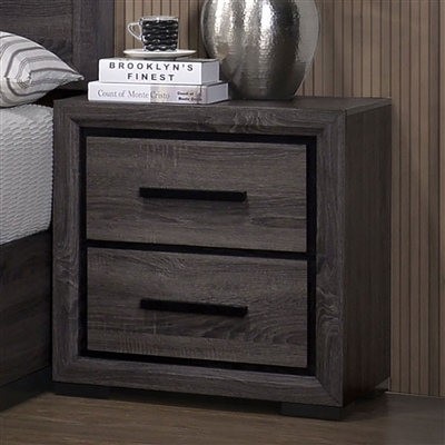 Gray Wood Grain Finish Nightstand with Black Trim