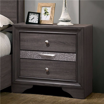 Chrissy Gray Finish Nightstand with Pull Out Jewelry Tray