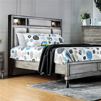Daphne Transitional Grey King Bed w/ Bookcase Headboard