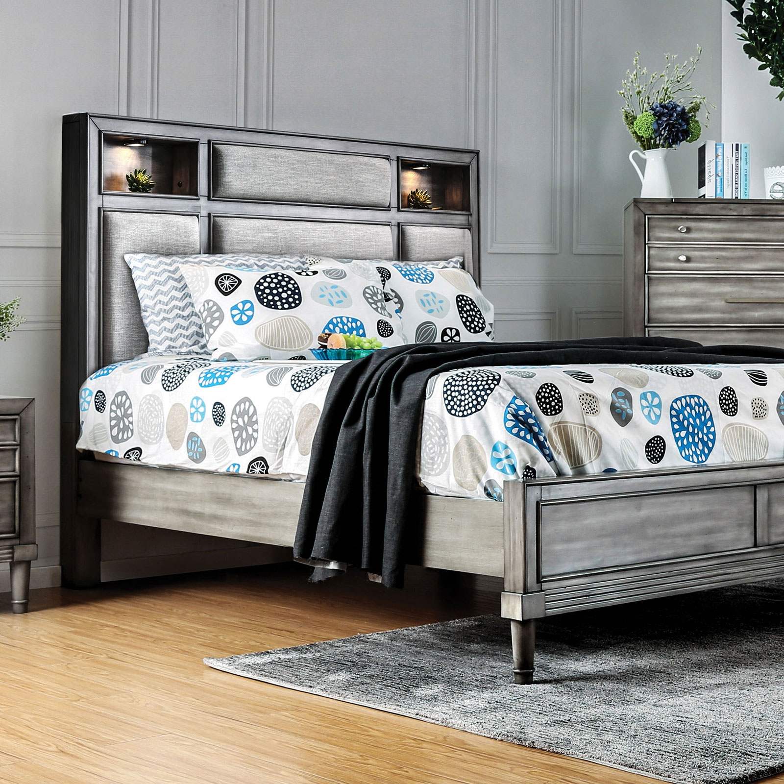 Daphne Transitional Grey Queen Bed W Bookcase Headboard