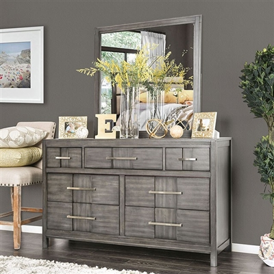 Transitional Style Gray Finish 7-Drawer Dresser