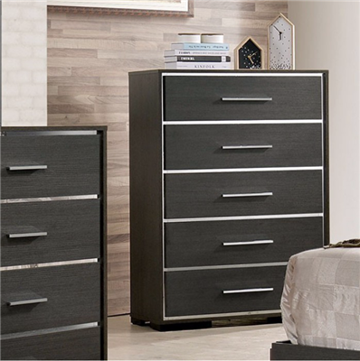 Camryn Collection Modern Style Warm Gray/Chrome Finish 5 Drawer Chest