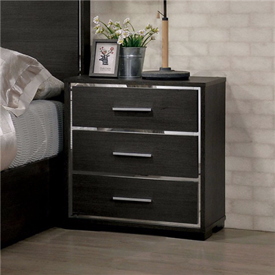 Camryn Collection Modern Style Warm Gray/Chrome Finish 3 Drawer Nightstand
