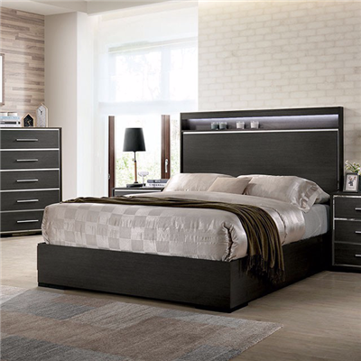 Camryn Collection Modern Style Warm Gray/Chrome Finish Bed