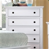 Castor Collection White 5 Drawer Chest with Black Hardware