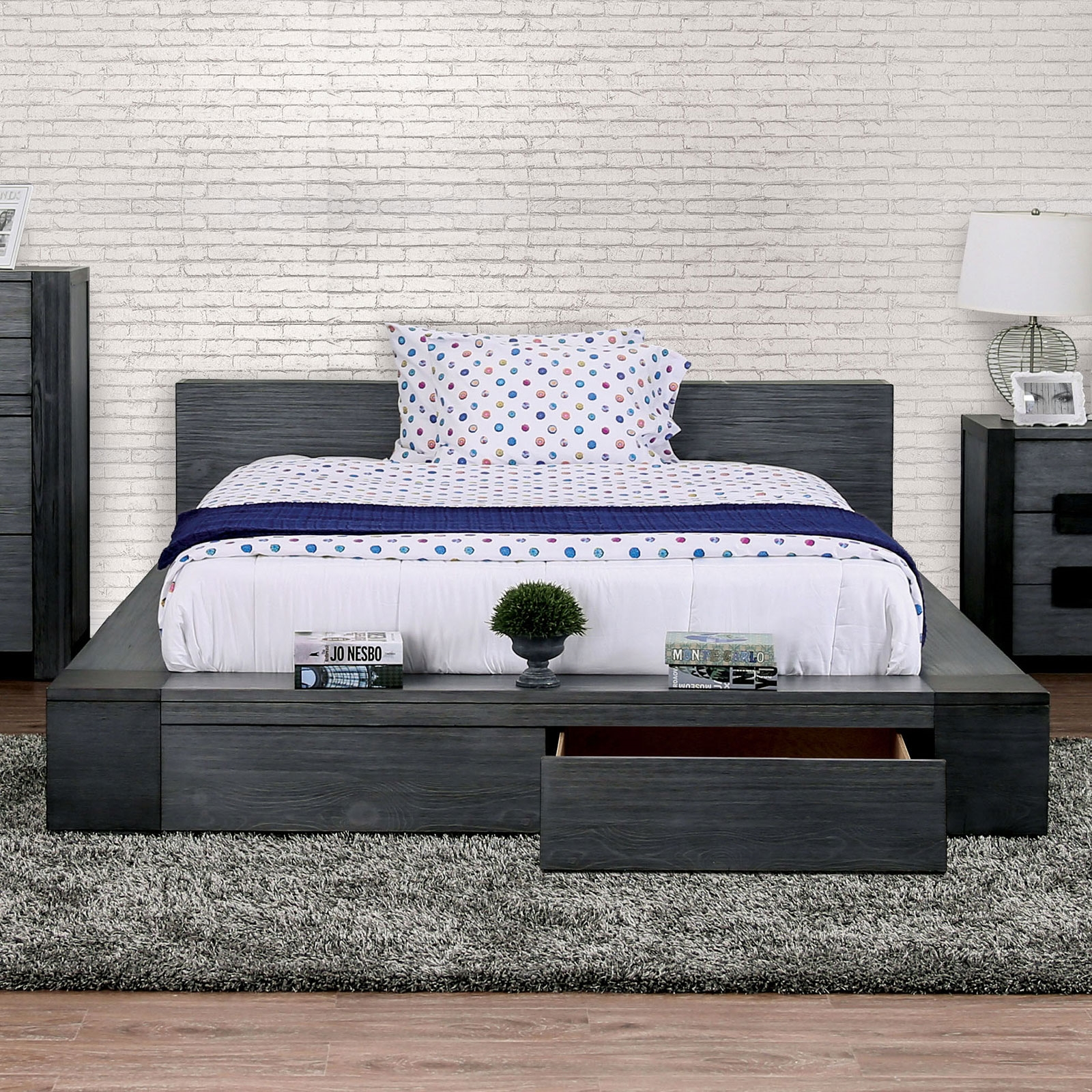 Ultra Modern Low Profile Queen Platform Storage Bed With Open Wood