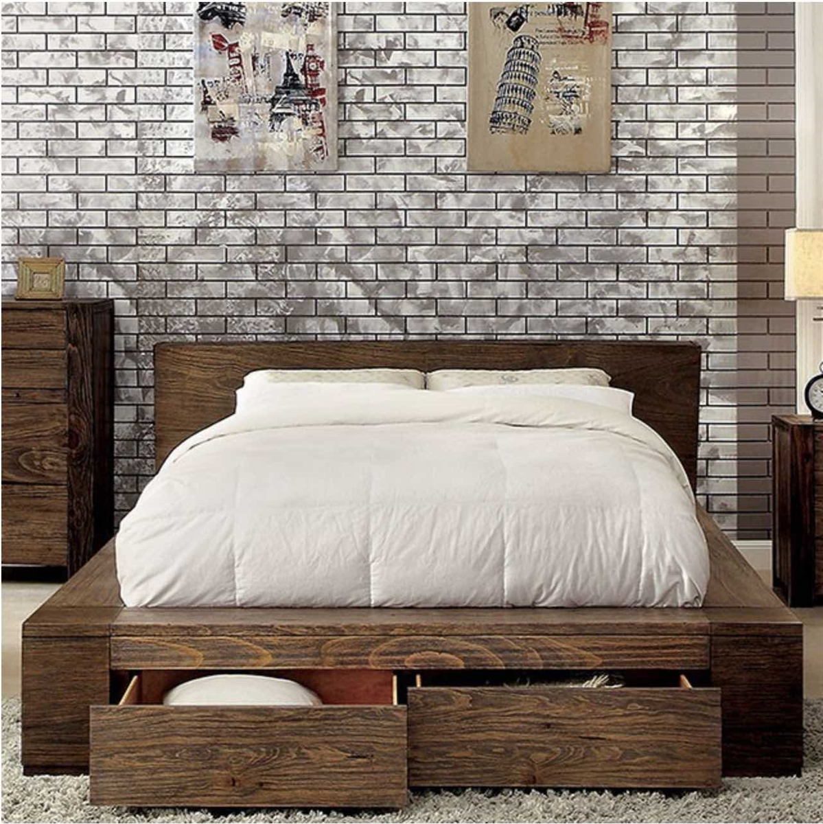 Janeiro Urban Rustic Low Profile Queen Storage Bed