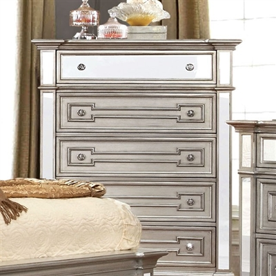 Salamanca Contemporary Silver Finish Mirrored Chest