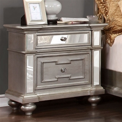 Salamanca Contemporary Silver Finish Mirrored Nightstand