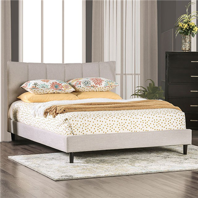 Transitional Style Beige Linen Platform Bed
