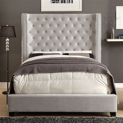 Ivory Upholstered Wingback Platform Bed