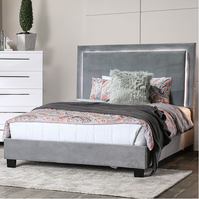 Erglow Ultra Plush Gray Upholstered Platform Bed With Touch Led Lighting Furniture Of America Cm7695