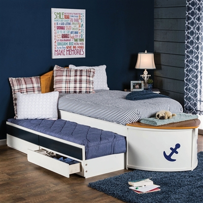Boat Theme Twin Captains Bed in White & Blue