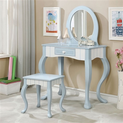 Deana Blue/White Contemporary Vanity Set - FOA CM7851V