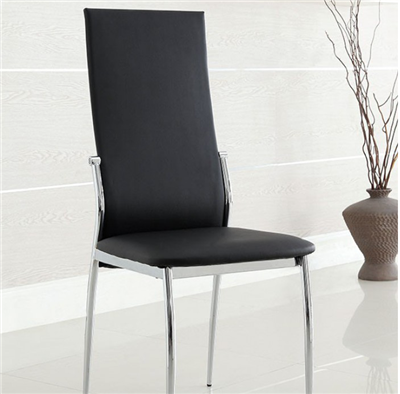 Modern Black Leatherette & Chrome Dining Side Chair