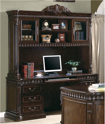 Executive style rich brown finish credenza & Hutch Set