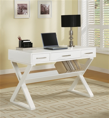 Contemporary White Desk With Nickel Finish Hardware