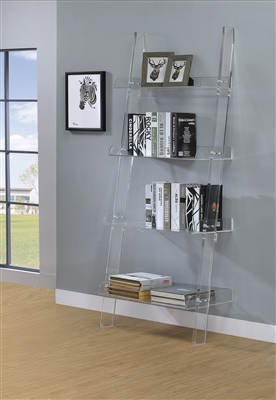 Clear Acrylic Ladder Bookcase 72""