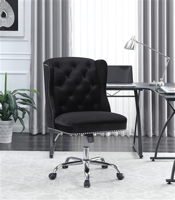 Hiedi Modern Black Velvet Office Chair