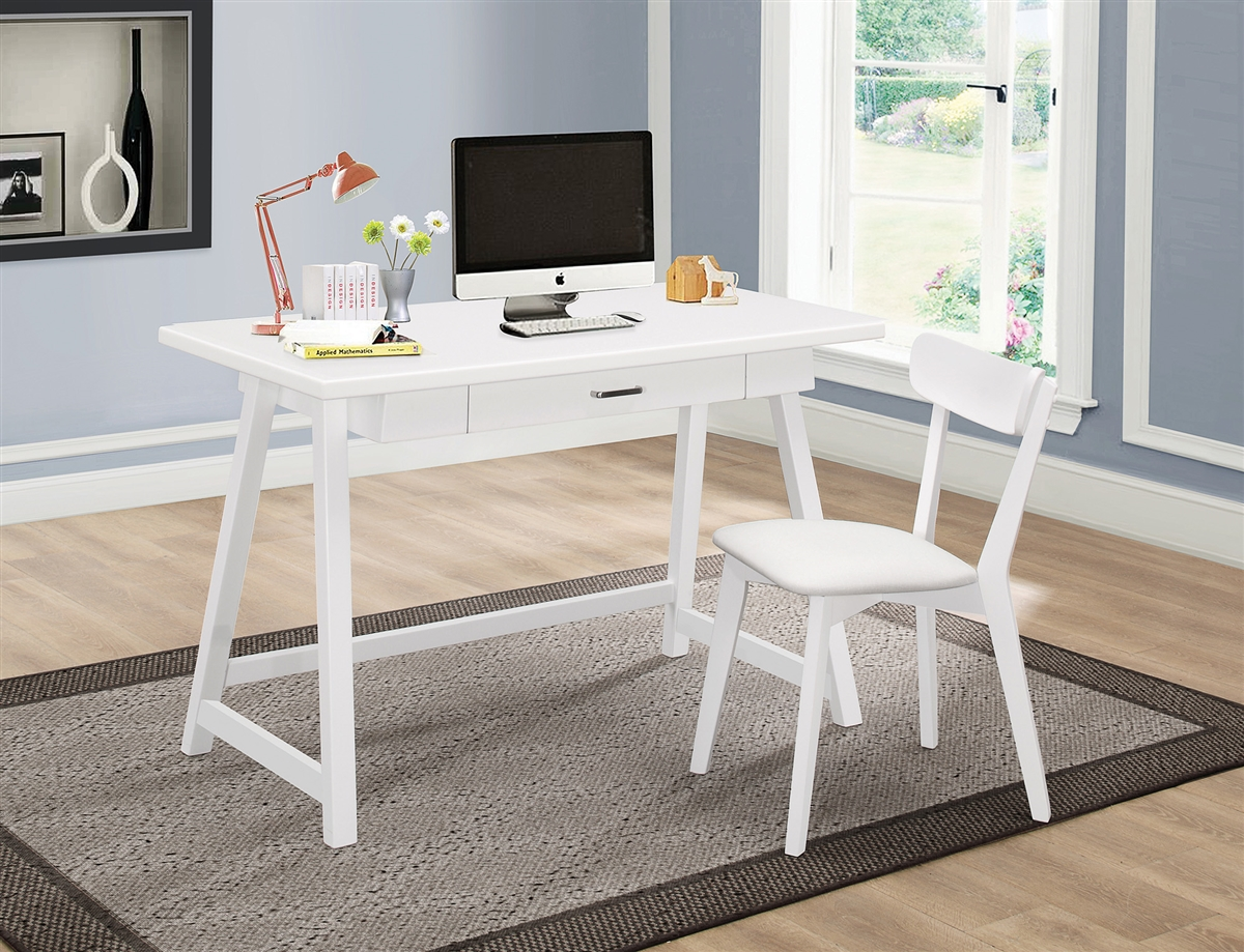 Fawn Contemporary White Desk & Chair Set