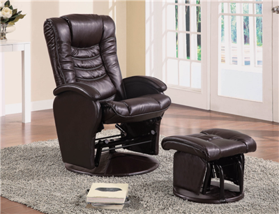 Alba Brown Leatherette Glider Recliner & Ottoman Set