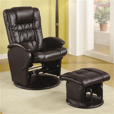 Alba Dark Brown Leatherette Glider Recliner & Ottoman Set