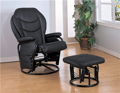 Janell Black Leatherette Swivel Glider Recliner & Ottoman Set
