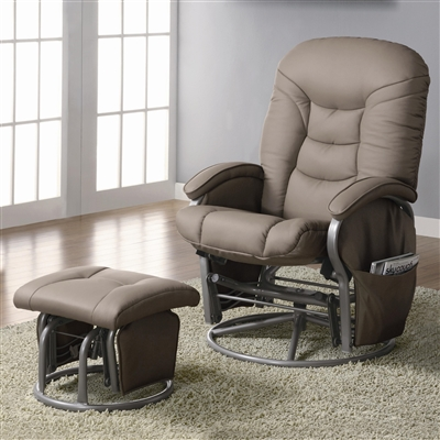 Jayson Beige Leatherette Swivel Recliner & Ottoman Set
