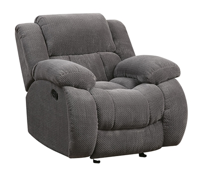 Ultra Plush Gray Textured Fleece Recliner