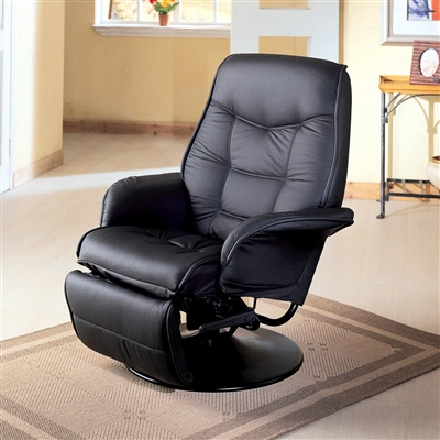 Traditional Black Leatherette Swivel Recliner