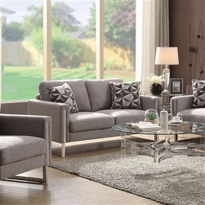 Luxue Contemporary Gray Flat Weave Loveseat