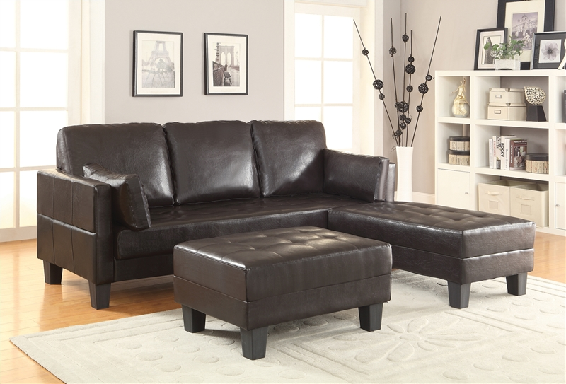 Urma brown leatherette convertible sofa bed