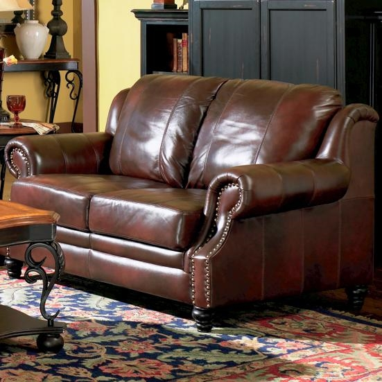 Park Collection Burgundy Leather Loveseat
